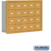"Cell Phone Storage Locker, Recessed Mounted, 4 Door High, 5""D, Keyed Locks, 20 A Doors, Gold"