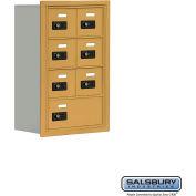 """Cell Phone Storage Locker, Recessed Mounted, 4 Door High, 8""""D, Combo Locks, 6A & 1 B Door, Gold"""