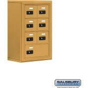 "Cell Phone Storage Locker, Surface Mounted, 4 Door High, 8""D, Combo Locks, 6A & 1 B Door, Gold"