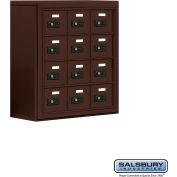 "Cell Phone Storage Locker, Surface Mounted, 4 Door High, 8""D, Combo Locks, 12 A Doors, Bronze"