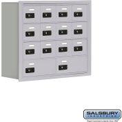 "Cell Phone Storage Locker, Recessed Mounted, 4 Door High, 8""D, Combo Locks, 12A & 2B Doors,Aluminum"