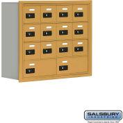 "Cell Phone Storage Locker, Recessed Mounted, 4 Door High, 8""D, Combo Locks, 12A & 2B Doors,Gold"