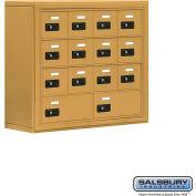 "Cell Phone Storage Locker, Surface Mounted, 4 Door High, 8""D, Combo Locks, 12A & 2B Doors,Gold"