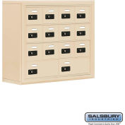 "Cell Phone Storage Locker, Surface Mounted, 4 Door High, 8""D, Combo Locks, 12A & 2B Doors,Sandstone"