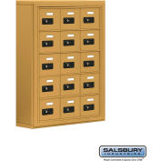 "Cell Phone Storage Locker, Surface Mounted, 5 Door High, 5""D, Combo Locks, 15 A Doors, Gold"