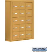 "Cell Phone Storage Locker, Surface Mounted, 5 Door High, 5""D, Keyed Locks, 15 A Doors, Gold"