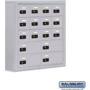 "Cell Phone Storage Locker, Surface Mounted, 5 Door High, 5""D, Combo Locks, 12A & 4B Doors,Aluminum"