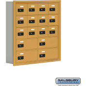 "Cell Phone Storage Locker, Recessed Mounted, 5 Door High, 5""D, Combo Locks, 12A & 4B Doors,Gold"