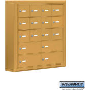"Cell Phone Storage Locker, Surface Mounted, 5 Door High, 5""D, Keyed Locks, 12A & 4B Doors,Gold"