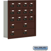 """Cell Phone Storage Locker, Recessed Mounted, 5 Door High, 5""""D, Combo Locks, 12A & 4B Doors,Bronze"""