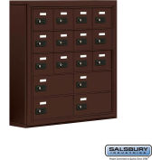 "Cell Phone Storage Locker, Surface Mounted, 5 Door High, 5""D, Combo Locks, 12A & 4B Doors,Bronze"