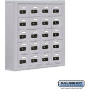 "Cell Phone Storage Locker, Surface Mounted, 5 Door High, 5""D, Combo Locks, 20 A Doors, Aluminum"