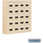 "Cell Phone Storage Locker, Surface Mounted, 5 Door High, 5""D, Combo Locks, 20 A Doors, Sandstone"