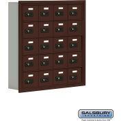 """Cell Phone Storage Locker, Recessed Mounted, 5 Door High, 5""""D, Combo Locks, 20 A Doors, Bronze"""