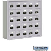 "Cell Phone Storage Locker, Recessed Mounted, 5 Door High, 5""D, Combo Locks, 25 A Doors, Aluminum"