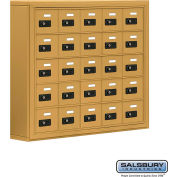 "Cell Phone Storage Locker, Surface Mounted, 5 Door High, 5""D, Combo Locks, 25 A Doors, Gold"