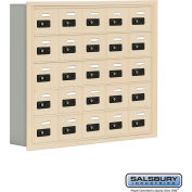 "Cell Phone Storage Locker, Recessed Mounted, 5 Door High, 5""D, Combo Locks, 25 A Doors, Sandstone"
