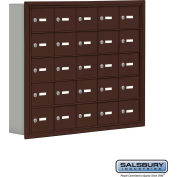 "Cell Phone Storage Locker, Recessed Mounted, 5 Door High, 5""D, Keyed Locks, 25 A Doors, Bronze"