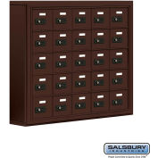 "Cell Phone Storage Locker, Surface Mounted, 5 Door High, 5""D, Combo Locks, 25 A Doors, Bronze"
