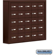 "Cell Phone Storage Locker, Surface Mounted, 5 Door High, 5""D, Keyed Locks, 25 A Doors, Bronze"