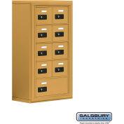 "Cell Phone Storage Locker, Surface Mounted, 5 Door High, 8""D, Combo Locks, 8A & 1 B Door, Gold"
