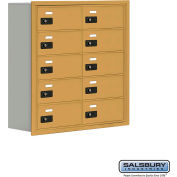 "Cell Phone Storage Locker, Recessed Mounted, 5 Door High, 8""D, Combo Locks, 10 B Doors, Gold"