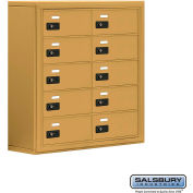 "Cell Phone Storage Locker, Surface Mounted, 5 Door High, 8""D, Combo Locks, 10 B Doors, Gold"