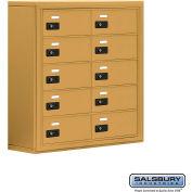 "Cell Phone Storage Locker, Surface Mounted, 5 Door High, 8""D, Combo Locks, 10 B Doors, Gold"