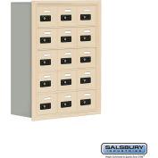 "Cell Phone Storage Locker, Recessed Mounted, 5 Door High, 8""D, Combo Locks, 15 A Doors, Sandstone"