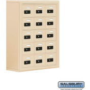 "Cell Phone Storage Locker, Surface Mounted, 5 Door High, 8""D, Combo Locks, 15 A Doors, Sandstone"