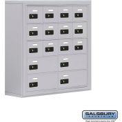 "Cell Phone Storage Locker, Surface Mounted, 5 Door High, 8""D, Combo Locks, 12A & 4B Doors,Aluminum"