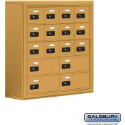 "Cell Phone Storage Locker, Surface Mounted, 5 Door High, 8""D, Combo Locks, 12A & 4B Doors,Gold"
