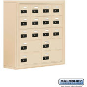 "Cell Phone Storage Locker, Surface Mounted, 5 Door High, 8""D, Combo Locks, 12A & 4B Doors,Sandstone"