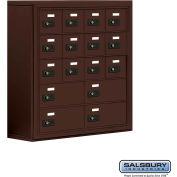 "Cell Phone Storage Locker, Surface Mounted, 5 Door High, 8""D, Combo Locks, 12A & 4B Doors,Bronze"