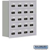 "Cell Phone Storage Locker, Recessed Mounted, 5 Door High, 8""D, Combo Locks, 20 A Doors, Aluminum"