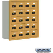 "Cell Phone Storage Locker, Recessed Mounted, 5 Door High, 8""D, Combo Locks, 20 A Doors, Gold"