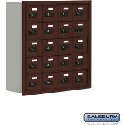 """Cell Phone Storage Locker, Recessed Mounted, 5 Door High, 8""""D, Combo Locks, 20 A Doors, Bronze"""