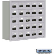 "Cell Phone Storage Locker, Recessed Mounted, 5 Door High, 8""D, Combo Locks, 25 A Doors, Aluminum"