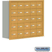 "Cell Phone Storage Locker, Recessed Mounted, 5 Door High, 8""D, Keyed Locks, 25 A Doors, Gold"