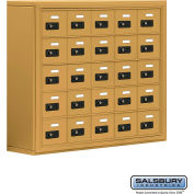 "Cell Phone Storage Locker, Surface Mounted, 5 Door High, 8""D, Combo Locks, 25 A Doors, Gold"