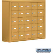 "Cell Phone Storage Locker, Surface Mounted, 5 Door High, 8""D, Keyed Locks, 25 A Doors, Gold"