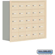 "Cell Phone Storage Locker, Recessed Mounted, 5 Door High, 8""D, Keyed Locks, 25 A Doors, Sandstone"
