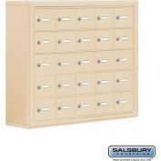 "Cell Phone Storage Locker, Surface Mounted, 5 Door High, 8""D, Keyed Locks, 25 A Doors, Sandstone"