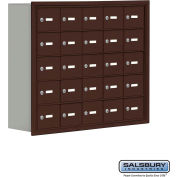 "Cell Phone Storage Locker, Recessed Mounted, 5 Door High, 8""D, Keyed Locks, 25 A Doors, Bronze"