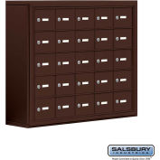 "Cell Phone Storage Locker, Surface Mounted, 5 Door High, 8""D, Keyed Locks, 25 A Doors, Bronze"
