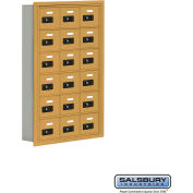 "Cell Phone Storage Locker, Recessed Mounted, 6 Door High, 5""D, Combo Locks, 18 A Doors, Gold"