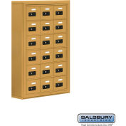 "Cell Phone Storage Locker, Surface Mounted, 6 Door High, 5""D, Combo Locks, 18 A Doors, Gold"