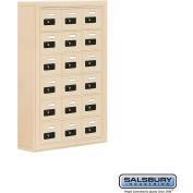"Cell Phone Storage Locker, Surface Mounted, 6 Door High, 5""D, Combo Locks, 18 A Doors, Sandstone"