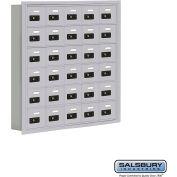 "Cell Phone Storage Locker, Recessed Mounted, 6 Door High, 5""D, Combo Locks, 30 A Doors, Aluminum"