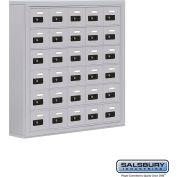 "Cell Phone Storage Locker, Surface Mounted, 6 Door High, 5""D, Combo Locks, 30 A Doors, Aluminum"